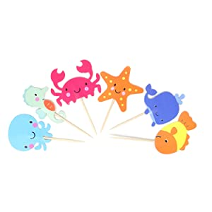 Honbay 48PCS Double Sided Sea Creature Adorable Dessert Muffin Cake Cupcake Toppers Picks Cake Decoration Food Picks for Birthday, Party, Wedding, Baby Shower