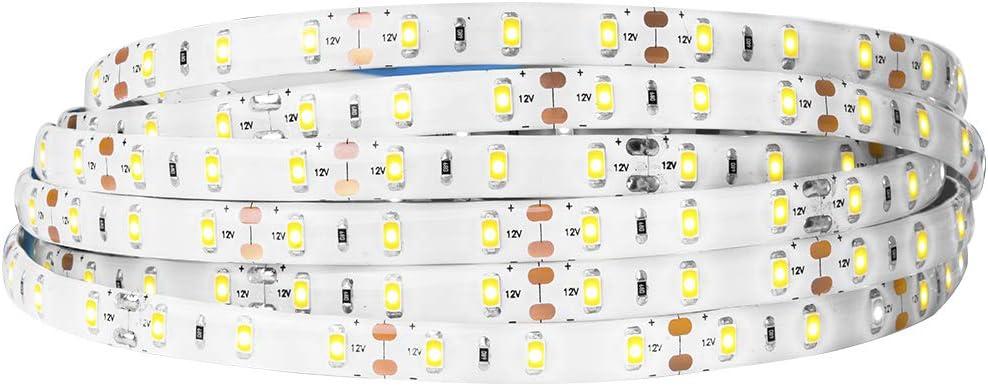 BTF-LIGHTING 16.4ft blanco calido SMD5630 cinta de led tira 300LEDs DC12V impermeable IP65 25Lm/LED, más brillante que 5050