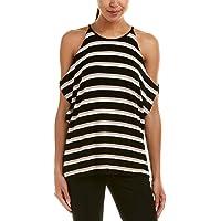 Vince Camuto Women's Regular Desert Stripe Cold-Shoulder Dolman Top