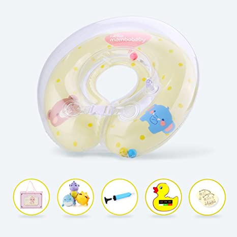 APig flotador de doble airbags, flotador engrosada ajustable de cuello para bebes de 0-12 meses,epuipo de natación de piscina para niños Recién ...