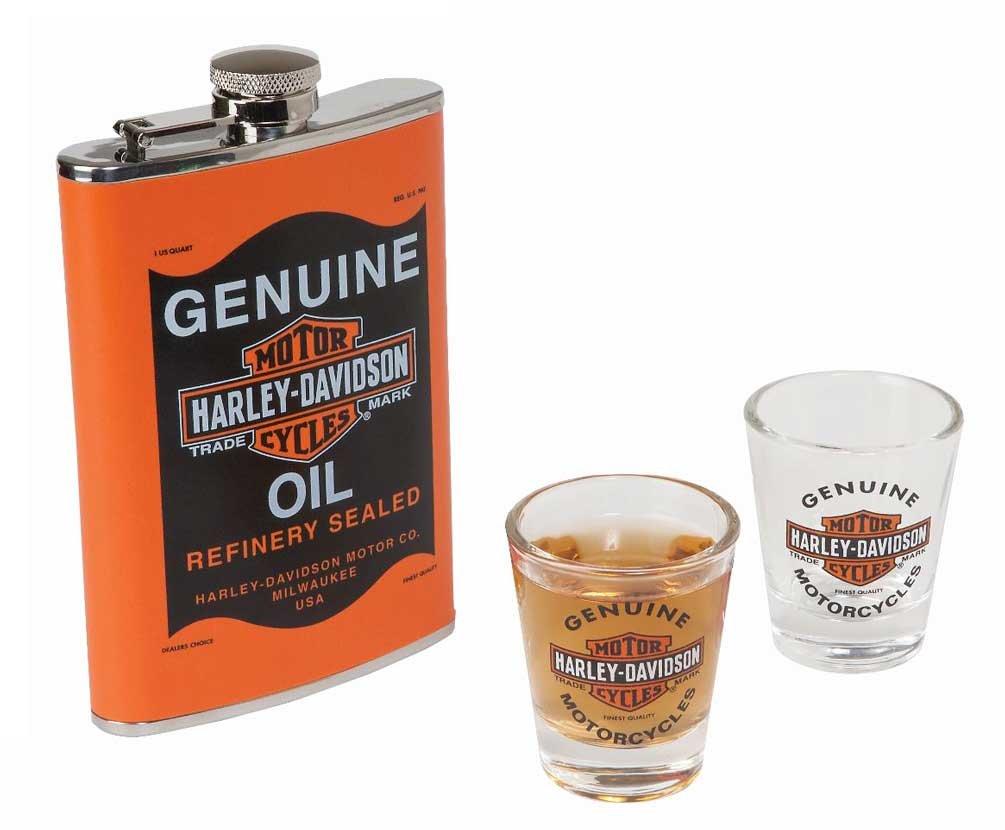 Harley-Davidson Genuine Oil Can Hip Flask & Shot Glass Gift Set, HDL-18557