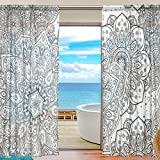 U LIFE Vintage Indian Floral Mandala Stripe Black White Patchwork Rod Pocket Sheer Voile Window Curtain Curtains 55 inch Wide x 78 inch Long Per Panel, Set of 2 Panels Review