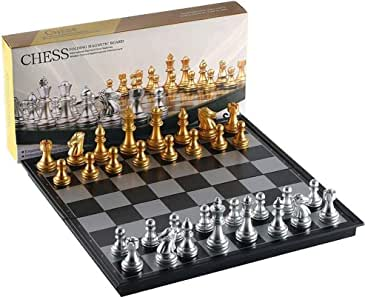 """9.8/"""" Magnetic Silver Gold Chess Box Set Educational Board Contemporary"""