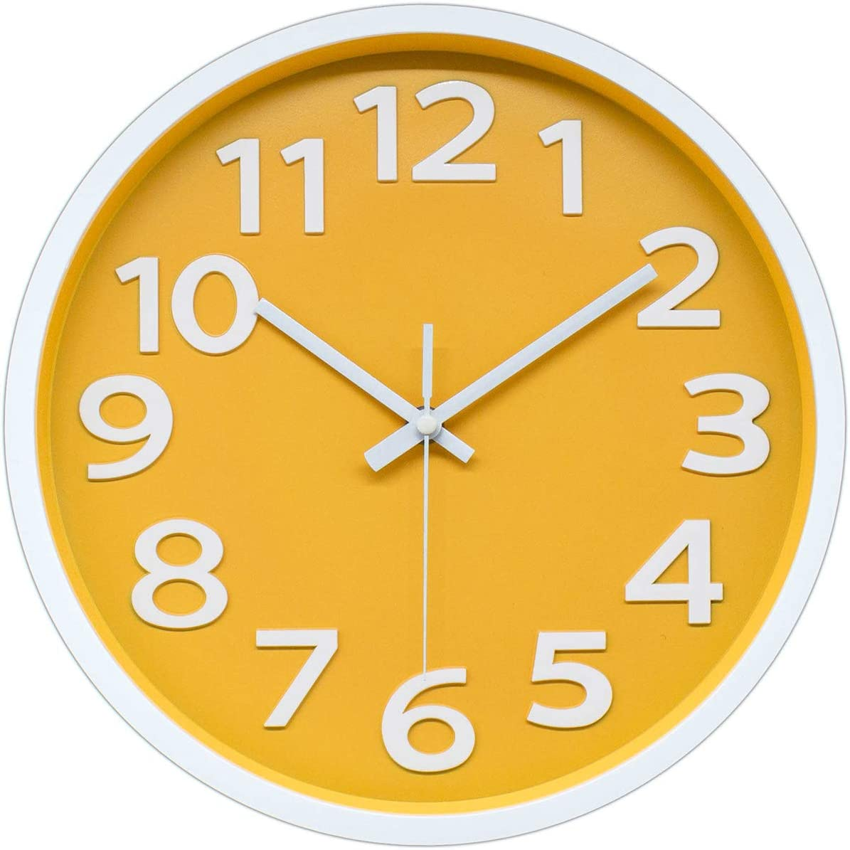 12 Inch Modern Wall Clock Silent Non-Ticking Battery Operated 3D Numbers Bright Color Dial Face Wall Clock for Home/Office Decor,Yellow