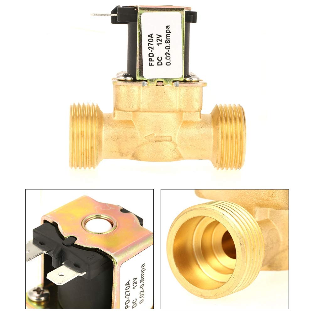 Solenoid Valve Electric Water Valve Brass Normally Closed DC12V G3//4 Electric Solenoid Solenoid Valve for Air Water Oil NC
