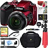 Beach Camera Nikon COOLPIX B500 16MP 40x Optical Zoom Digital Camera w/Built-in Wi-Fi NFC & Bluetooth (Red) + 64GB SDXC Accessory Bundle