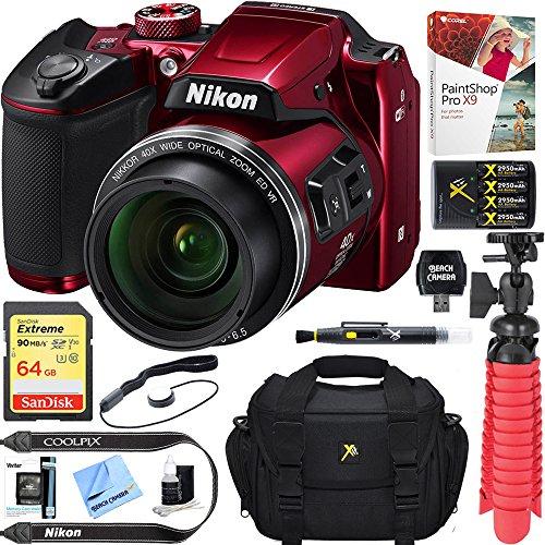 Beach Camera Nikon COOLPIX B500 16MP 40x Optical Zoom Digital Camera w/Built-in Wi-Fi NFC & Bluetooth (Red) + 64GB SDXC Accessory Bundle by Beach Camera