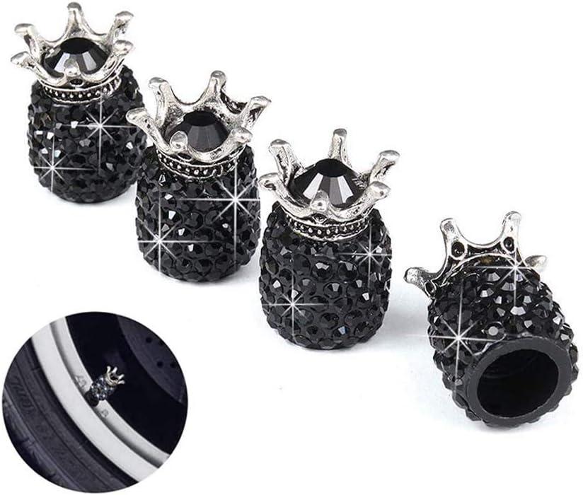 Camions SAVORI Bouchons de Valve Capot de Soupape Bouchon Pneu en Cristal Aluminium Casquettes Anti Poussi/ère 4 pi/èces Universels pour Voitures V/élos VUS Casquette Rouge