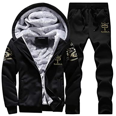 005575f10 AOTORR Tracksuit Men Sporting Fleece Thick Hooded Winter Warm Jacket Casual  Sweat Suit Set Black S