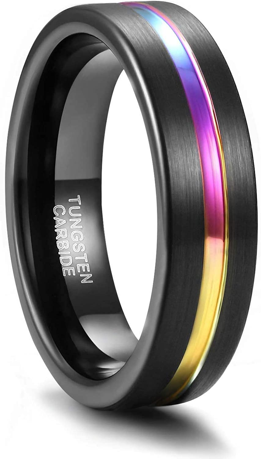 Greenpod Mens Tungsten Ring Wedding Band 5mm 6mm 7mm 8mm Engraved I Love You Thin Blue/Rose Gold/Black/Rainbow Centre Groove Comfort Fit Size 4-17