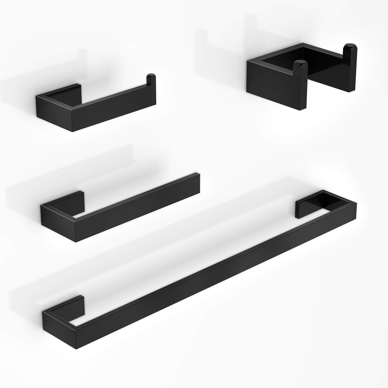 LuckIn Towel Bar Set Black, Bathroom Accessories Set Matte Black, Bath Towel Rack Set with Toilet Paper Holder (4 PCS)