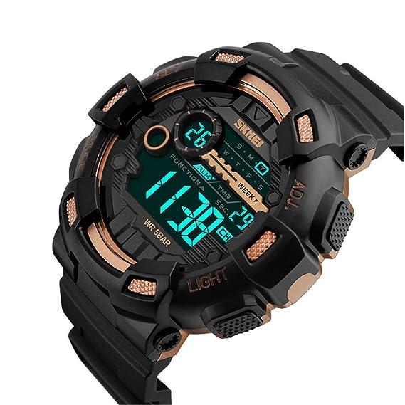 Skmei Relojes Deportivos para Hombre, 50m Resistente Al Agua Digital Militares Relojes Grandes con cuenta atrás,LED Relojes de Pulsera de Negro y Oro Rosa ...
