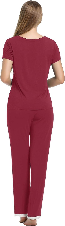 Amorbella Womens Bamboo Pyjamas Set Short Sleepwear Short Sleeves Top with Pants