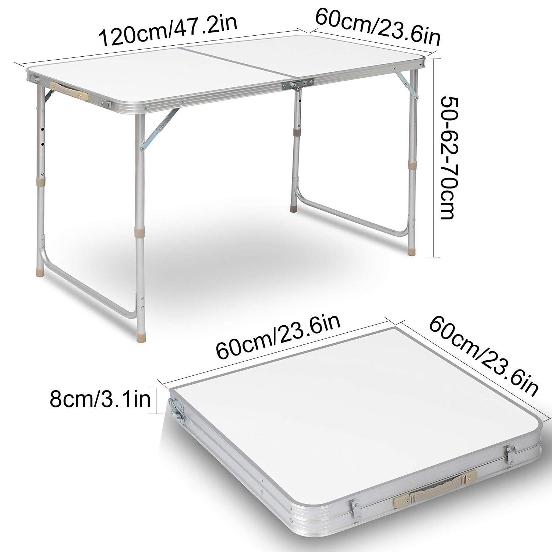 cene e Picnic Tavolo Pieghevole in Alluminio per Interni ed Esterni Campeggio 0,5 m. per Catering Nestling/®