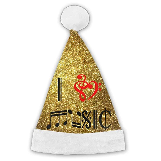 Amazon com: I Love Music in Musical Symbols Christmas Santa Hat
