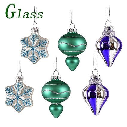 Valery Madelyn 6 Piezas Bolas de Navidad de Vidrio Esmerilado, 5cm, Azul Verde y Plata Brillante Adornos navideños con Colgadores Decoraciones para ...