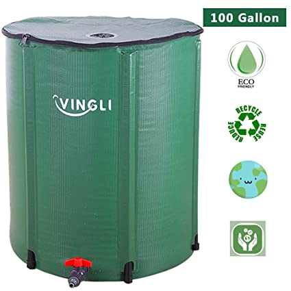 902aaf1ce65 VINGLI Collapsible Rain Barrel 100 Gallon, Portable Water Storage Tank,  Rainwater Collection System Downspout, Water Catcher Container with Filter  ...
