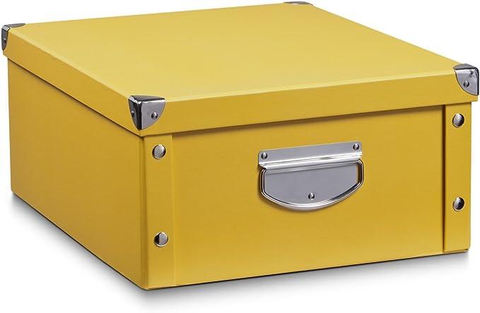 Zeller 17653 Caja de almacenaje de cartón Amarillo (Mango) 40 x 33 ...