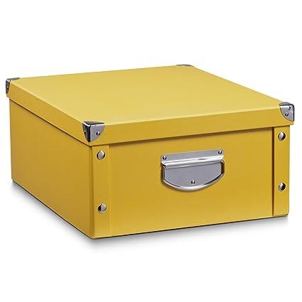 Zeller 17653 Caja de almacenaje de cartón Amarillo (Mango) 40 x 33 x 17