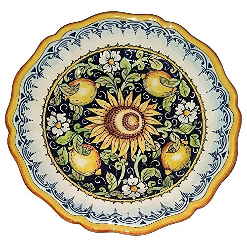 CERAMICHE D'ARTE PARRINI - Italian Ceramic Art Pottery Serving Plate Dish Food Bowl Hand Painted Made in ITALY (Pottery Serving Plate)