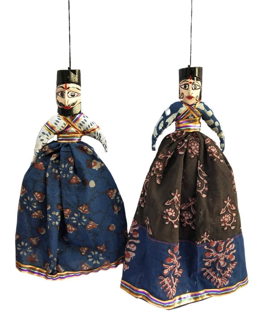 Hand Puppet Pair and 1 Pair Ganesh Door//Wall Hangings for Home D/écor Laxman Art Rajasthani Colorful Handcrafted Handmade Kathputli