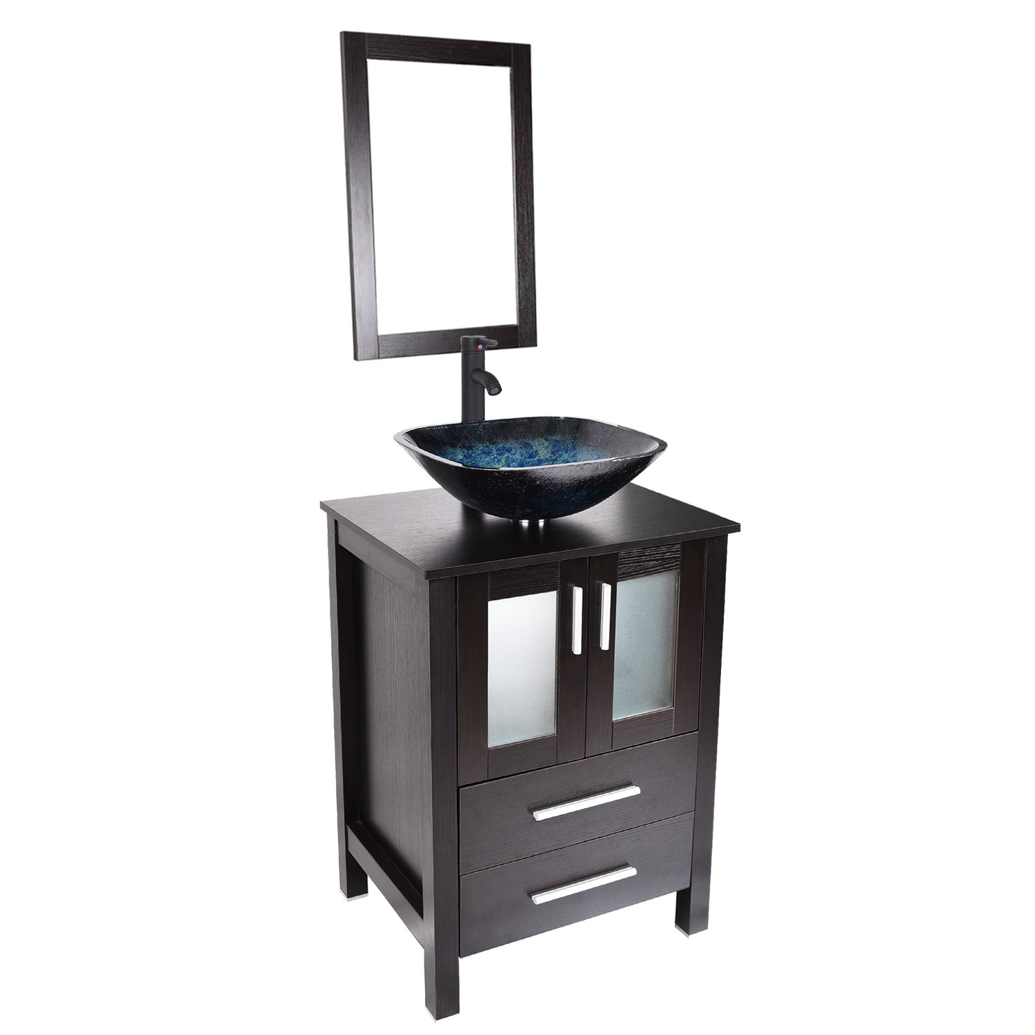 24 Inch Bathroom Vanity Modern Stand Pedestal Cabinet And Sink Combo With Blue Square Glass Vessel Sink And Single Faucet Hole Mdf Dark Brown