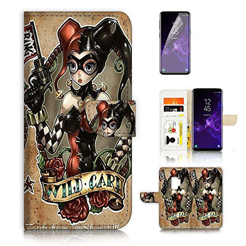 ( For Samsung Galaxy S9 ) Flip Wallet Case Cover & Screen Protector Bundle - A6732 Harley Quinn by Pinky Beauty Australia