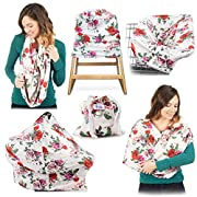 High Quality Stretchy Baby Car Seat Cover, Canopy, Nursing And Breastfeeding Cover, Kutest N' Precious, Infinity Scarf, Stroller and Shopping Cart, Baby Carrier, Multifunction (Red and Pink)