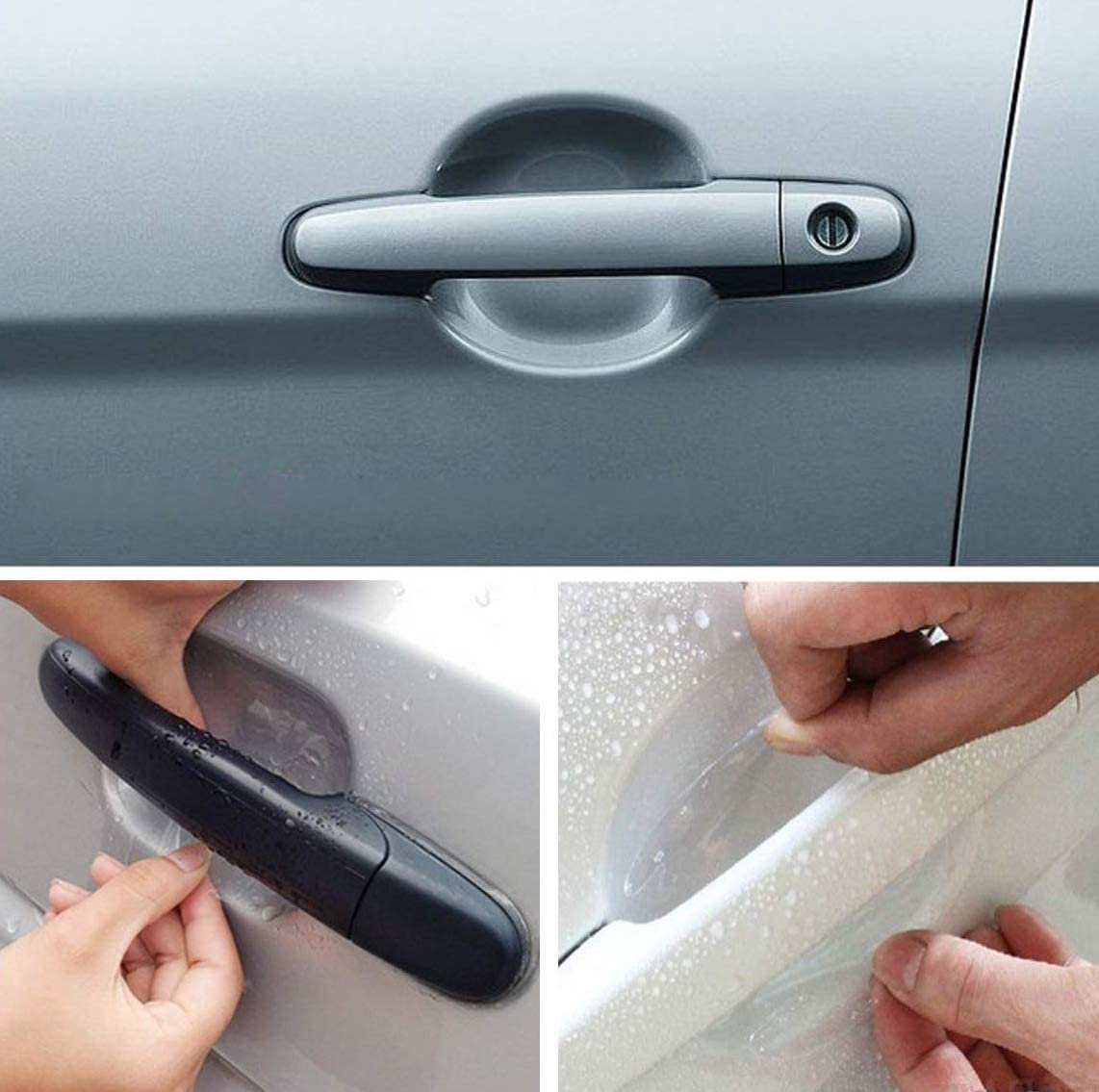 MotorFansClub 4PC Universal Invisible Car Door Handle Scratches Protective Protector Films Kit