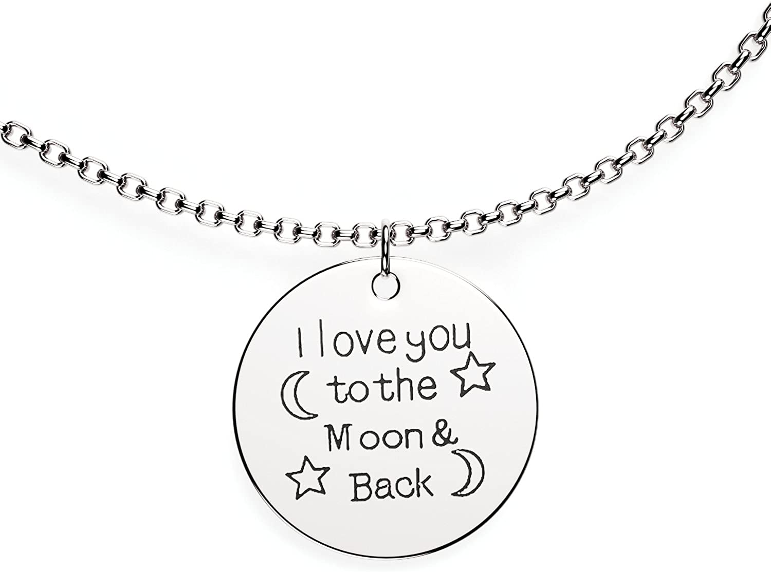 I Love You to The Moon and Back Love Pendant Necklace - Charm Necklace for Women