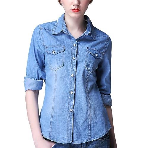 Zhuhaitf Popular Camisa de mezclilla especial Female Casual Roll Up Denim Jacket Cowboy Slim Jean Sh...