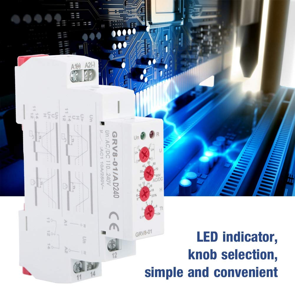 250VAC//24VDC Small Single-Phase Voltage Monitoring Protection Relay IP20 Protection 35Mm Rail Installation GRV8-01 AD240