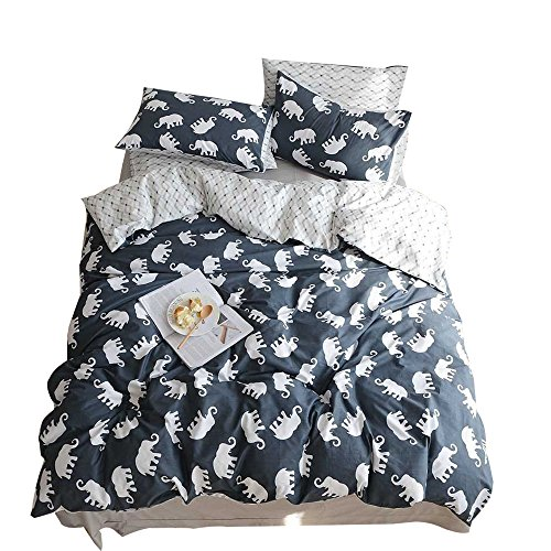 ORoa Boys Twin Bedding Sets Elephant Cartoon Duvet Cover Twin Cotton Kids Toddler Children Polka Dot Pattern Teen Girls Bedding Sets Reversible Lightweight Breathable (Navy Blue, Twin)