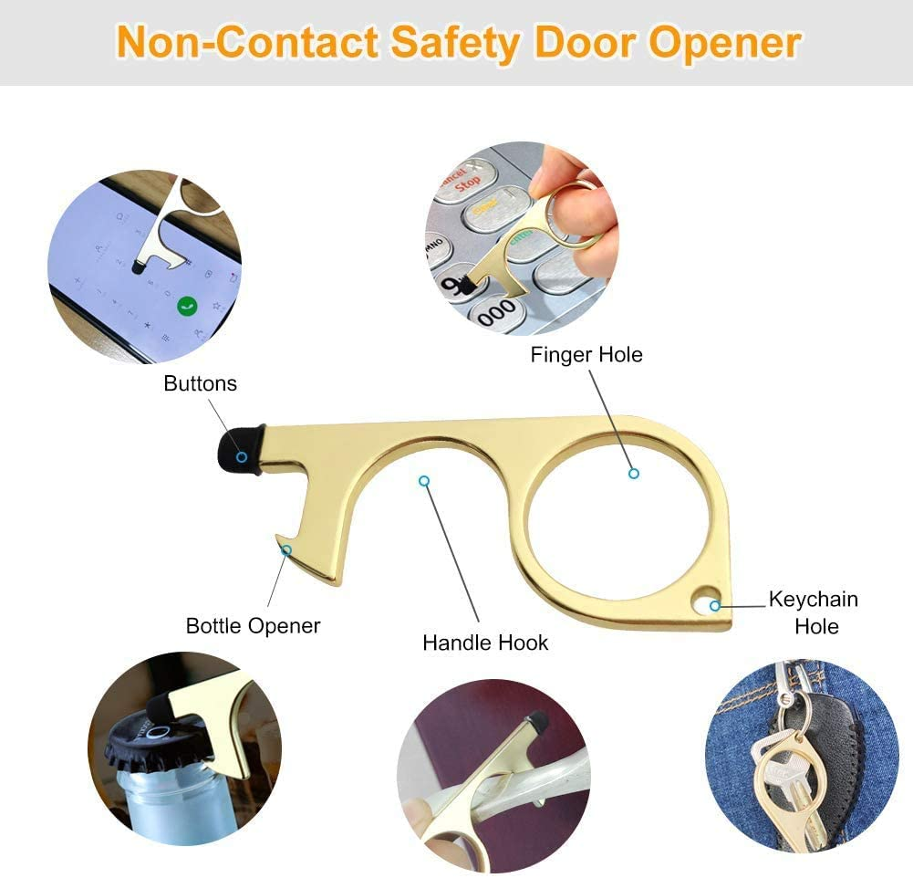 Hands Free Door Opener,Safe Touch Key Tool,Wanshop 3PC Touchless Door Opener,No Touch Door Opener With Stylus Keychain for Outdoor Public Door Handle Touchscreen Button Gold
