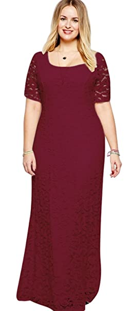 bfcea0a9e Image Unavailable. Image not available for. Color: Unomatch Women Back Zip  Fastening Lace Long Plus Size Dress Red Wine ...