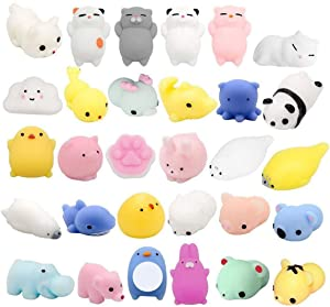 Fstop Labs 30PCS Mochi Squishy Animal Stress Toys, Mini Animal Squishy Stress Relief Animal Toys Mochi Squeeze Toys Mini Seal Bear Cat Tiger Pig Smile Cloud Squishies Random Color
