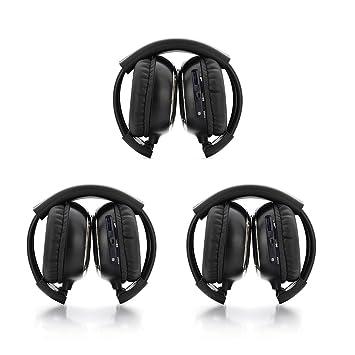Pack de tres auriculares inalámbricos plegables, ajuste universal, dos canales, infrarrojos, para sistemas de entretenimiento: Amazon.es: Electrónica
