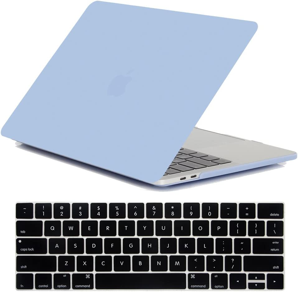 MacBook Pro 13 Inch Case 2020/2019/2018/2017/2016 Model A2251/A2289/A2159 /A1989/A1706/A1708, iZi Way Lovely Baby Blue Matte Hard Shell Cover for Mac Pro 13 with Retina - Serenity Blue