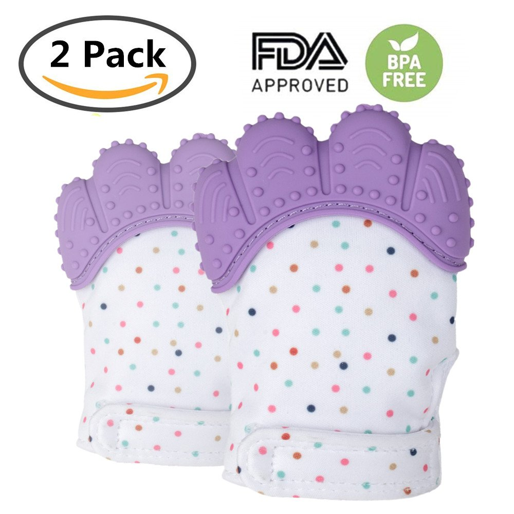 Baby Teething Mitt Self Soothing Pain Relief Teething Glove, Stimulate Teether Mitt Toy, Prevent Scratches Gloves in Travel Bag, Perfect 0-6 Months Unisex Babies (Purple)