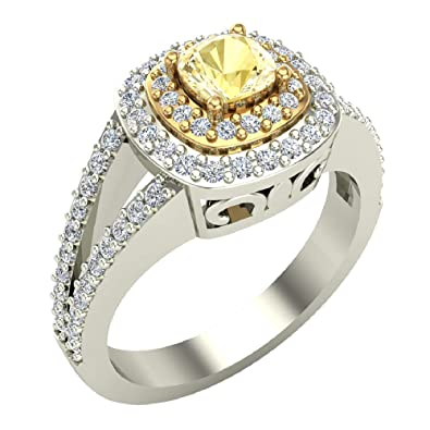 Amazon.com: Fancy Amarillo corte cojín V vástago de diamante ...