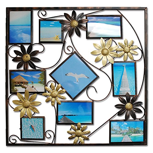 Abbie Home Photo Frame 9 Opening Picture Collage Hollowed Leaves and Filigree Detail, 6-6x4 Inch, 2-4x4 Inch,1-6x6 Inch -