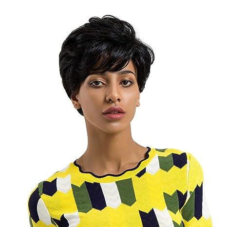 Beikoard Peluca-Mujeres reales naturales corto natural pelucas de pelo lacio cosplay peluca completa (