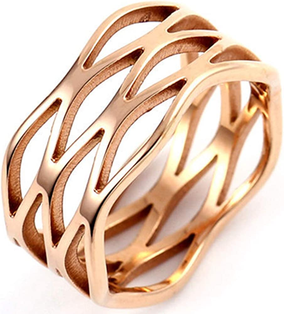 Jude Jewelers Stainless Steel Braided Wave Wrap Style Wedding Statement Anniversary Ring