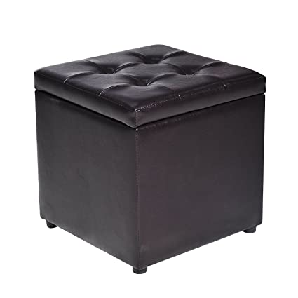Amazoncom Homcom 16 Cube Faux Leather Tufted Ottoman Storage