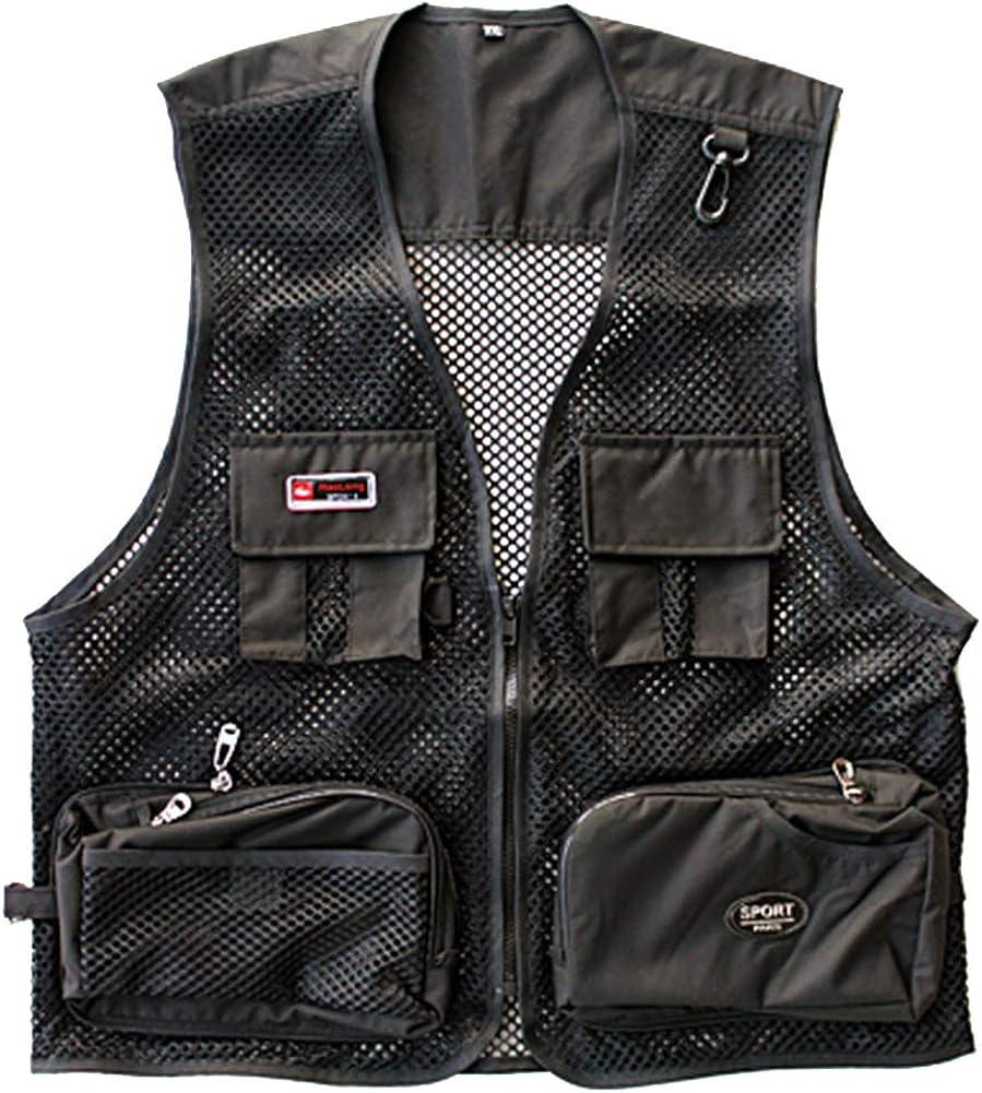WDREAM Mens Summer Mesh Outdoor Photography Vest Multi-Pocket Fishing Waistcoat