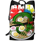 双肩バッグ 大容量 リュックサック Ramen 寿司、龍 バックパック Schoolbag Backpack 子供 中学生かばん リュック スクエアリュック 男女子 旅行 通学 通勤