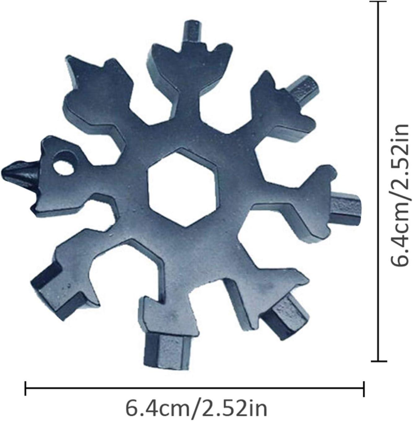 Outil Flocon Neige Outil multifonction en acier inoxydable 18-en-1,portatif Porte-cl/és Tournevis Ouvre Bouteille Outil Venez avec bo/îte-cadeau Pack de 2, Argent