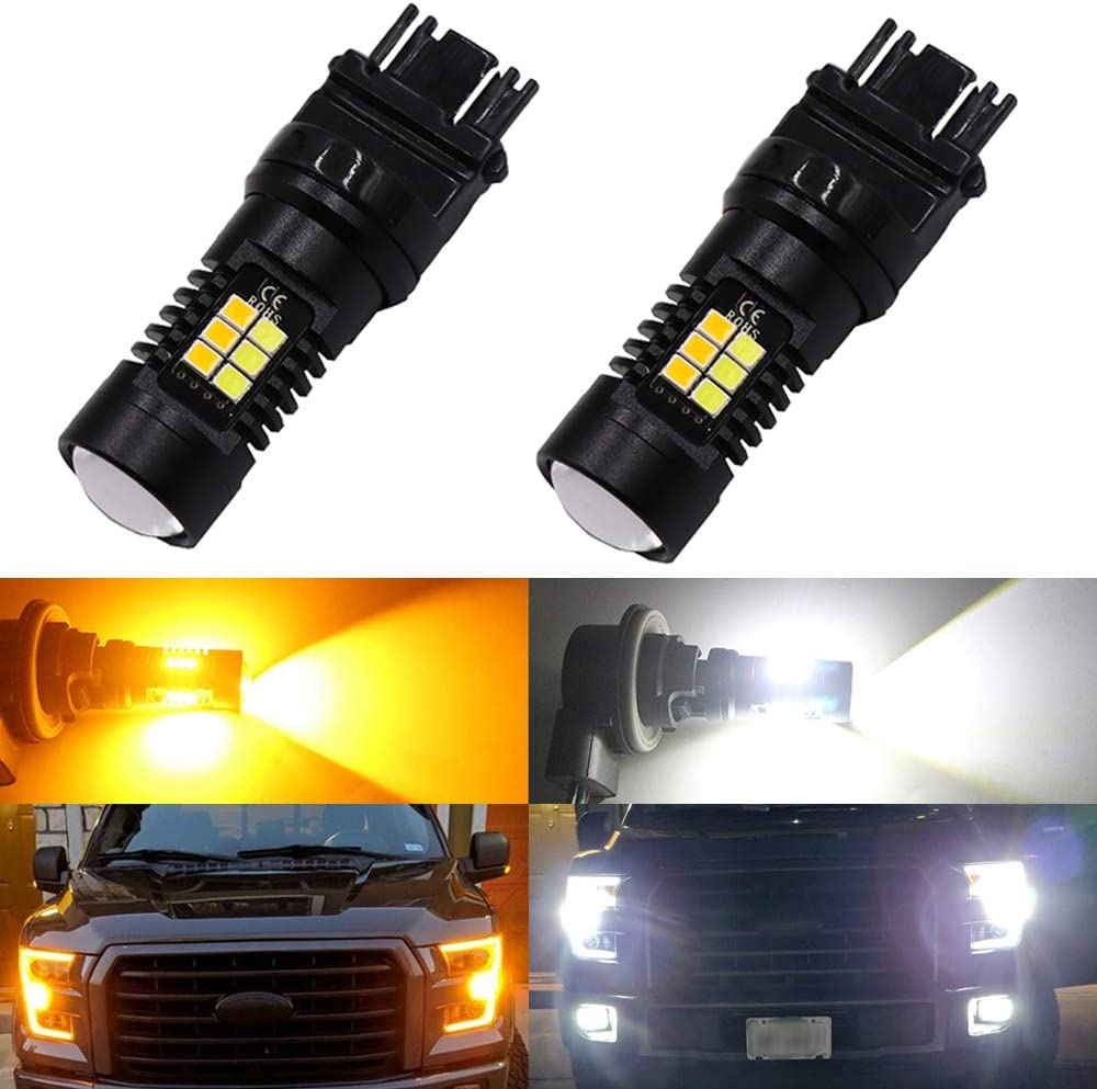 Pack of 2-3157 3157A 3057 3157NA 3457A Switchback 24SMD LED Bulbs with Projector White Replacement for Daytime Running Lights//DRL and Amber for Turn Signal Blinkers Light DEFVNSY