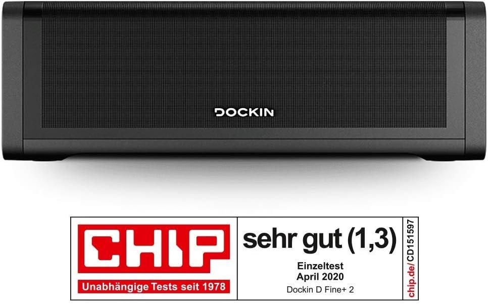DOCKIN D Fine+ 2 Hi-Fi Bluetooth Speaker – Altavoz para Interior y Exterior, 50 W, inalámbrico, Protegido contra el Agua, Correa de Transporte, Fuerte batería con 16 Horas, Tres Modos de Sonido