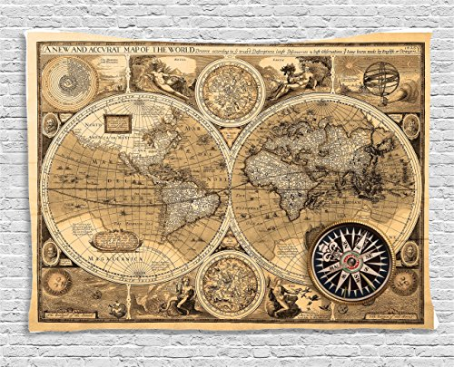 Poster Old World Map (Ambesonne Wanderlust Decor Tapestry, Old Map (1626) A New and Accvrat Map of The Old Era World Historical Manuscript, Wall Hanging for Bedroom Living Room Dorm, 80 W X 60 L, Sand and Light Brown)